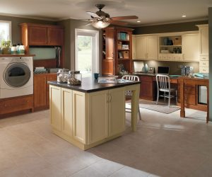 Custom Basment Remodel With Laundry Area Center Island Work Station And Tile Floors And Built In Cabinets Bohan-min