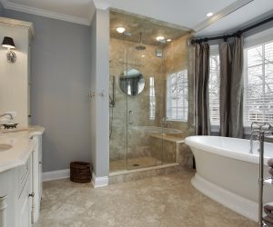 Complete Bathroom Remodel with double vanity sinks, custom bathtub and glass shower enclosure