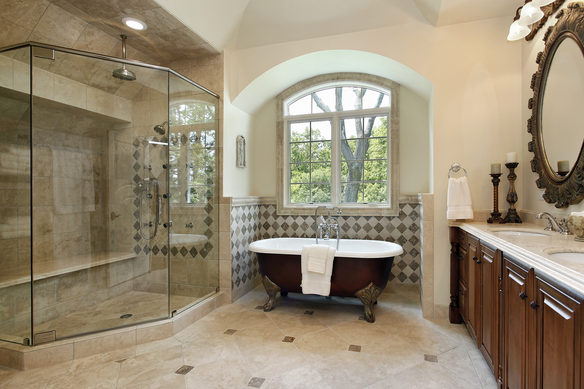 Custom Bathroom Remodel with Glass Shower and Clawfoot tub