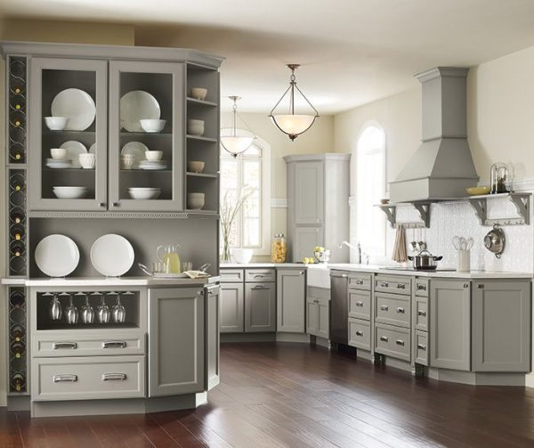 Remodeled Kitchen With Grey Cabinets And Stainless Appliances