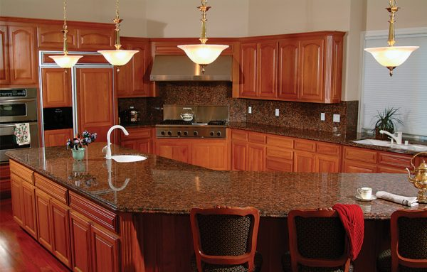 Renovated Kitchen With Custom Cherry Cabinets Massive Center Island Stacked Stainless Steel Appliances