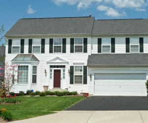 Front View Vinyl Siding Single Family House Home, Suburban MD
