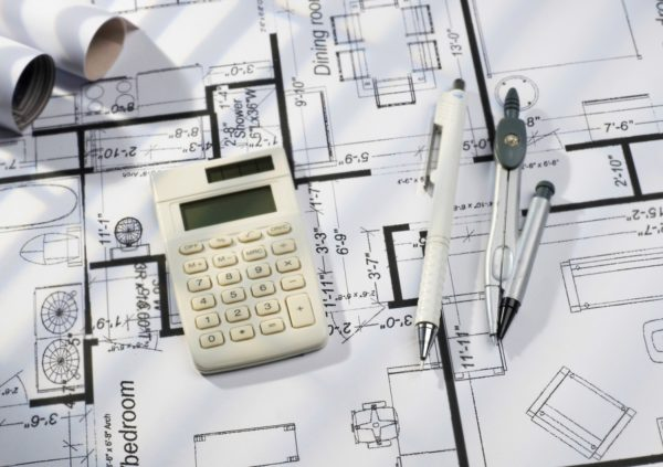 Plans for home addition with calculator