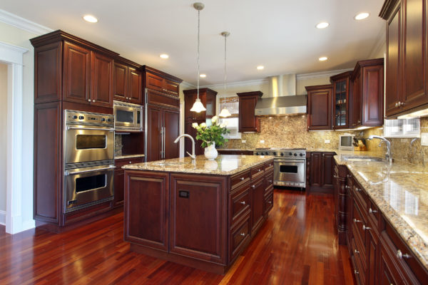 Cherry Wood Kitchen With Stainless Steel Appliances