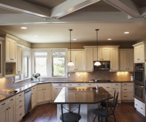 Contemporary Kitchen White Cabinets Black Counter Tops Stainless Steel Appliances
