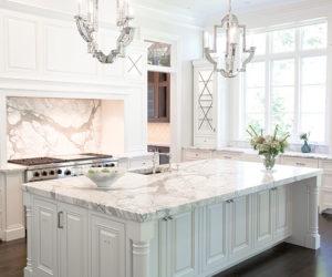 White Marble kitchen with luxury island