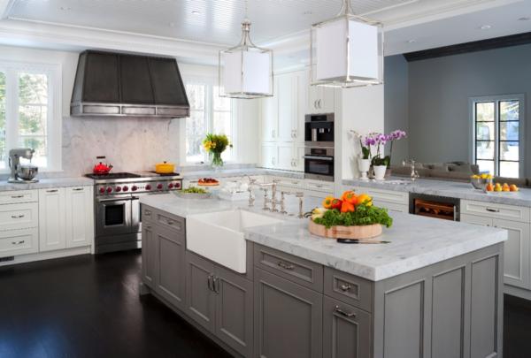 custom kitchen white granite