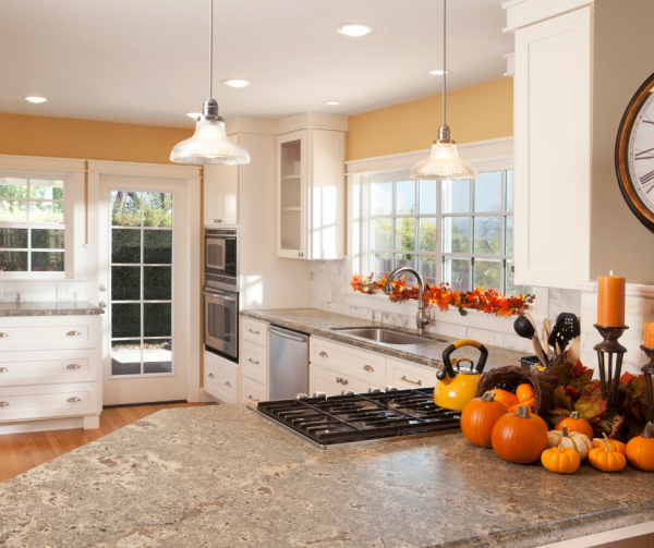 newly renovated kitchen with thanksgiving theme